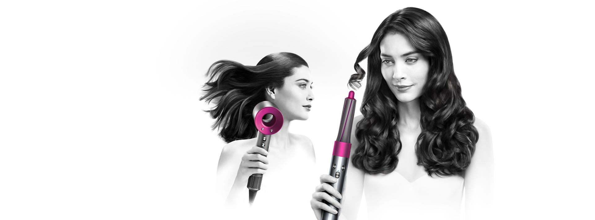Model using Dyson haircare range