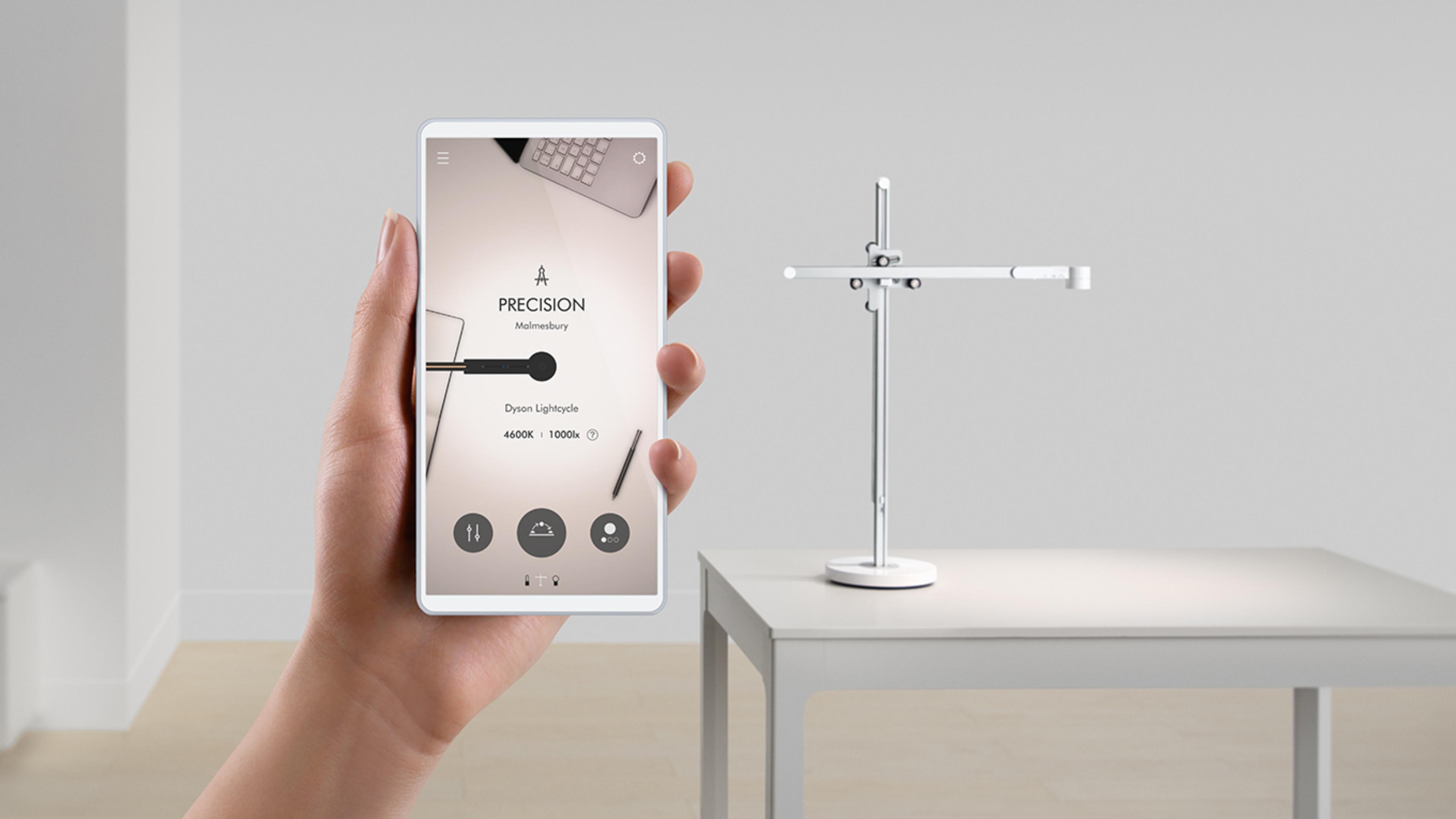Smartphone mostrando aplicación de Dyson Lightcyle