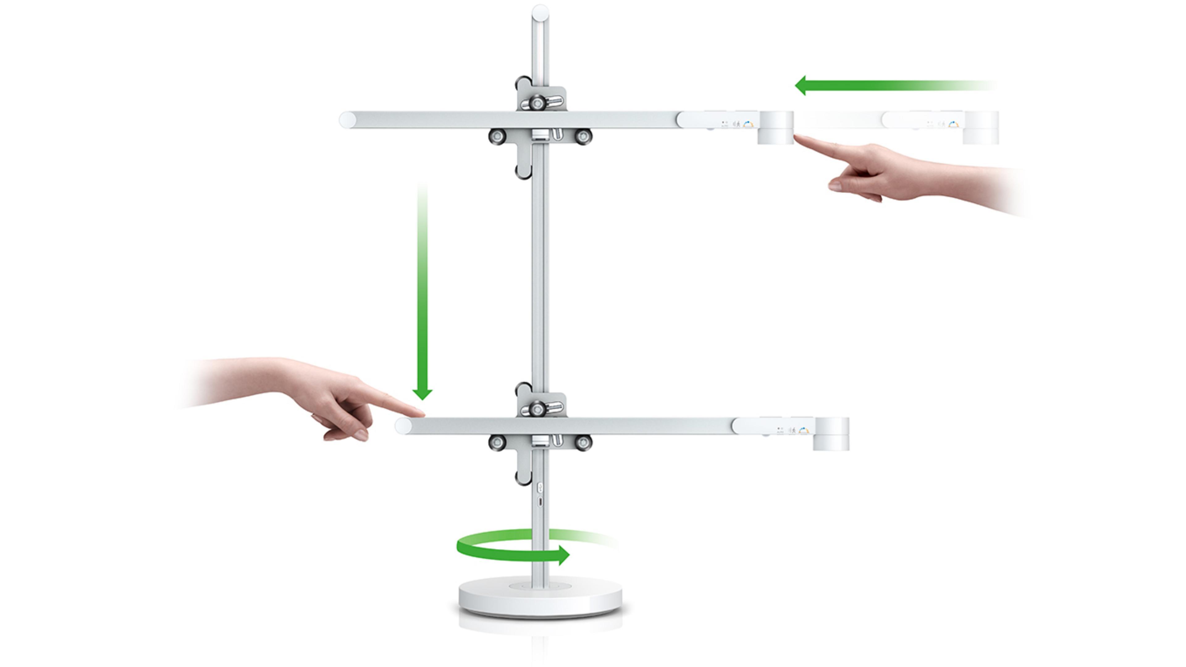Posicionamiento vertical, hortizontal y 360 de la lámpara Dyson LightCycle