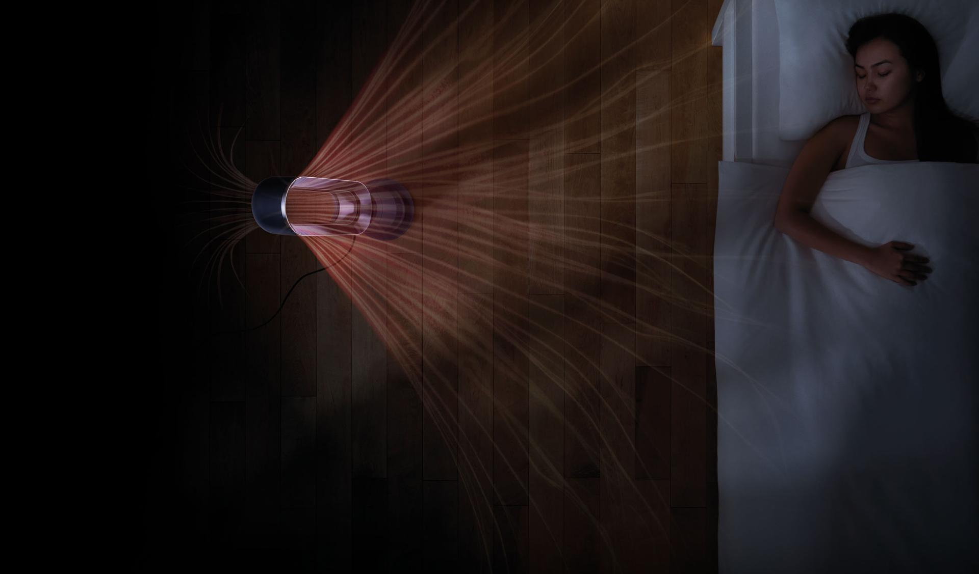 Dyson fan heater in bedroom