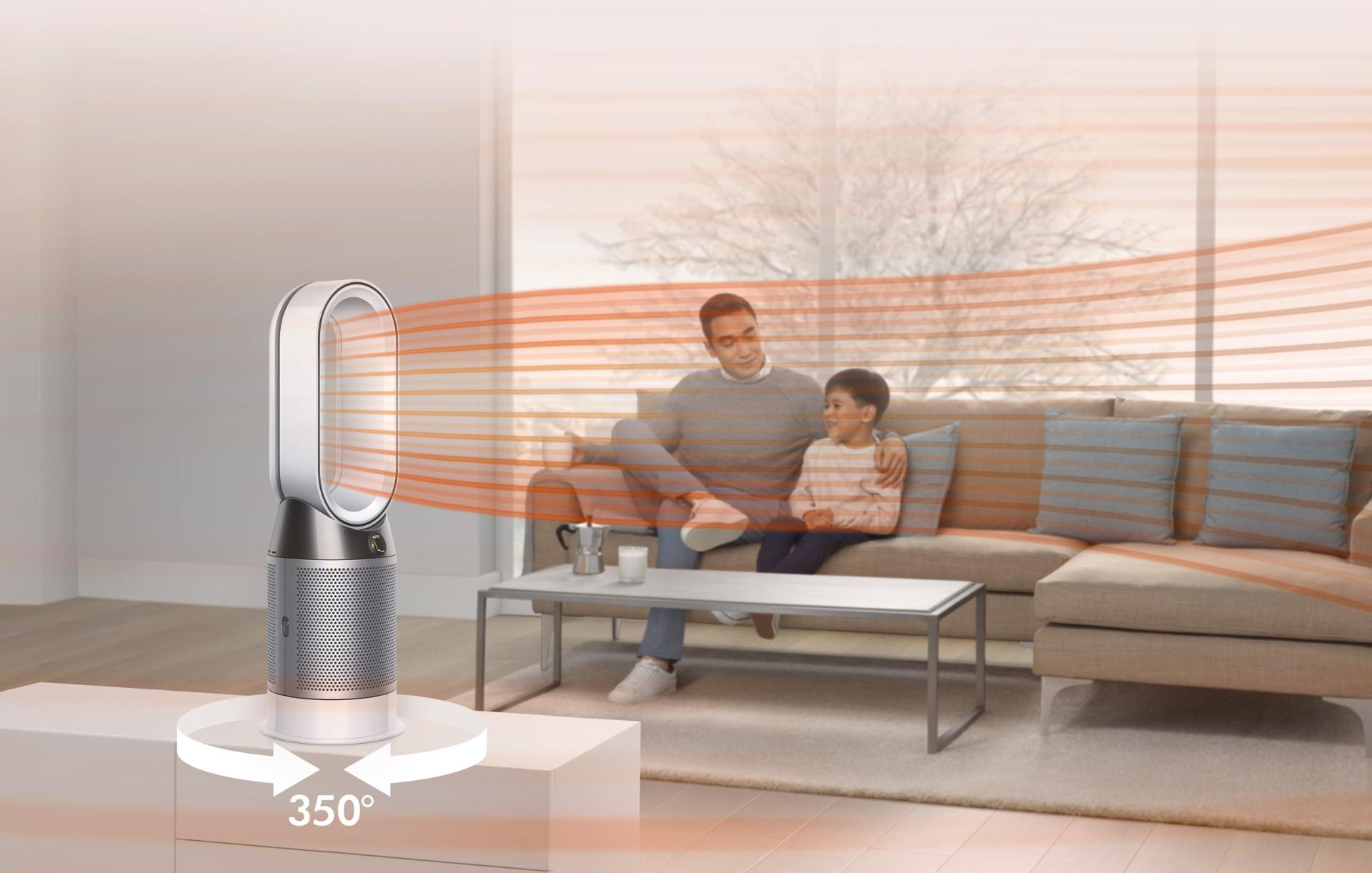 Dyson Pure Hot+Cool purifier inside family home