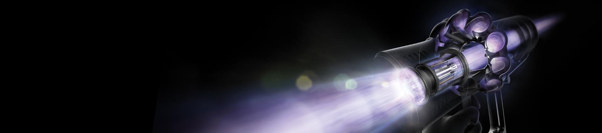 Graphic of air moving through the Dyson Cyclone V10™ vacuum