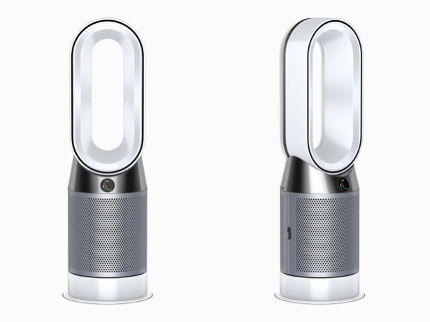 Dyson Pure Hot + Cool purifier fan heater front and side view