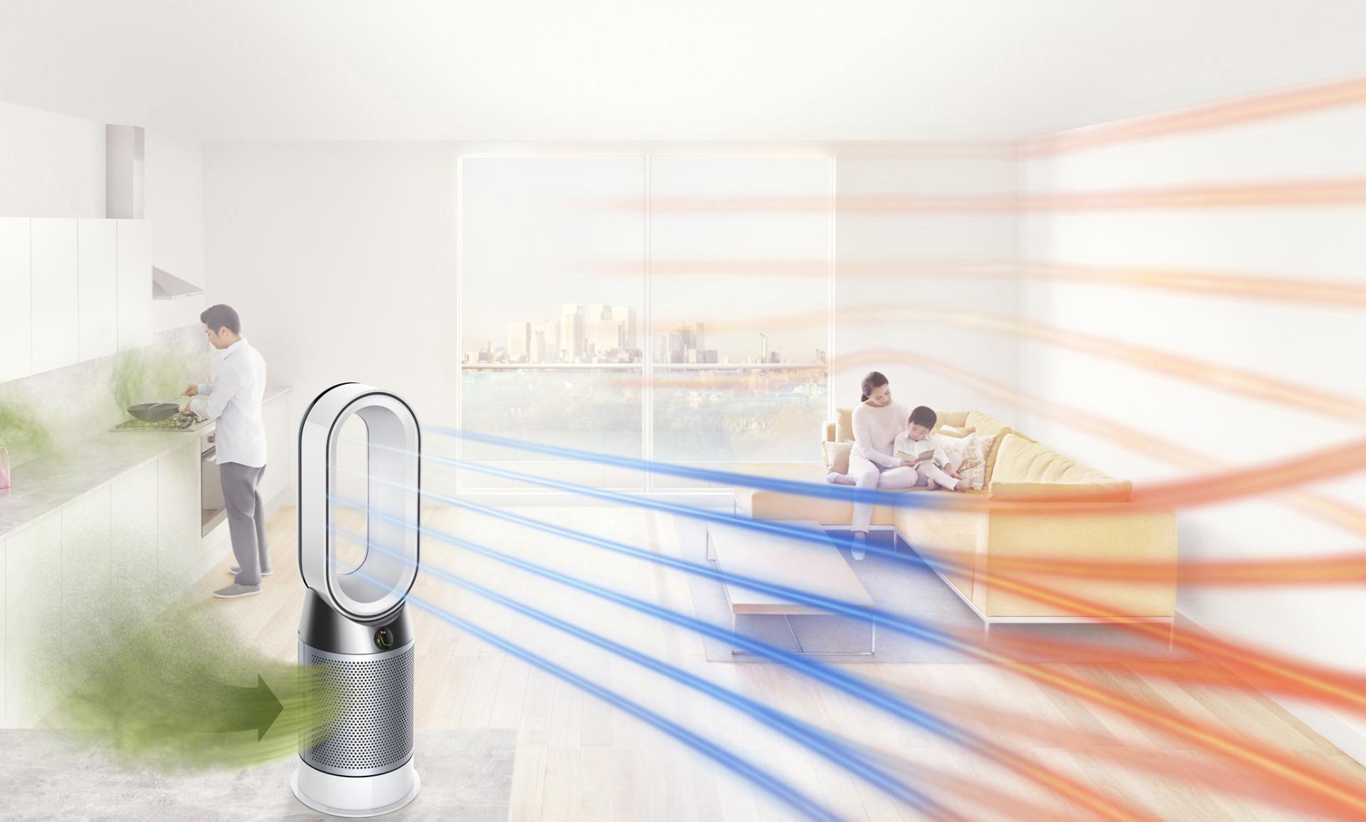 Dyson pure hot+cool air purifier & heater in living room projecting purified, warm air