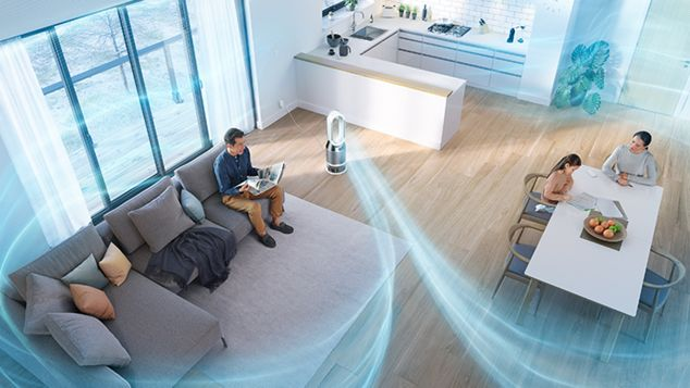 Dyson purifier projecting humidified air