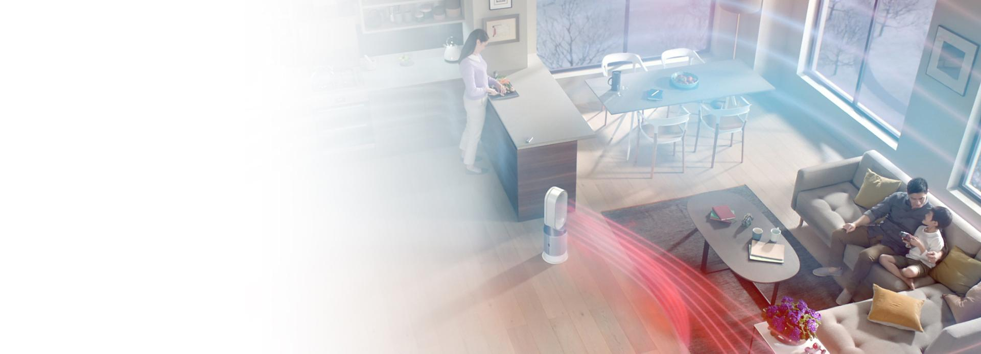 Dyson purifier fan heater in living room