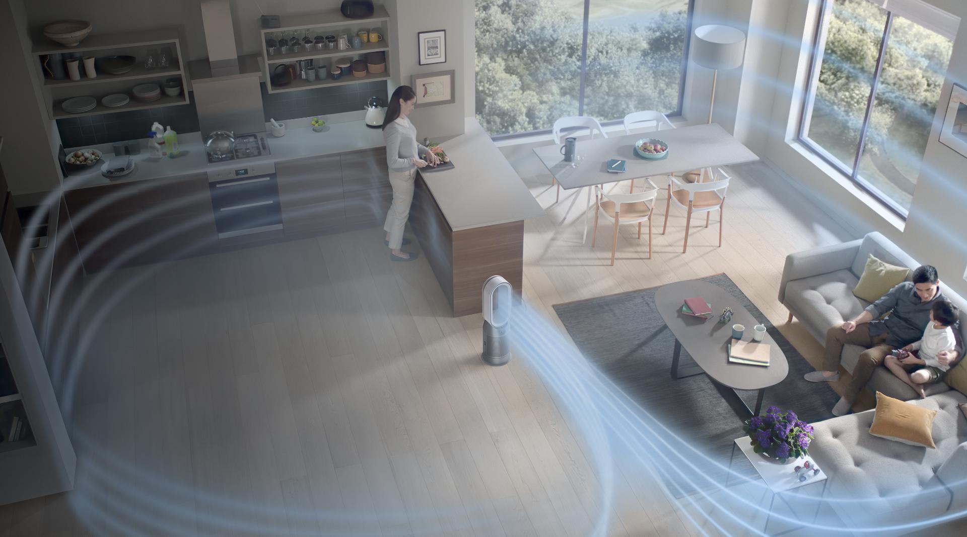 Hűsítő légáramot biztosít, miközben megtisztítja otthona levegőjét a szennyező anyagok 99,95%-tól