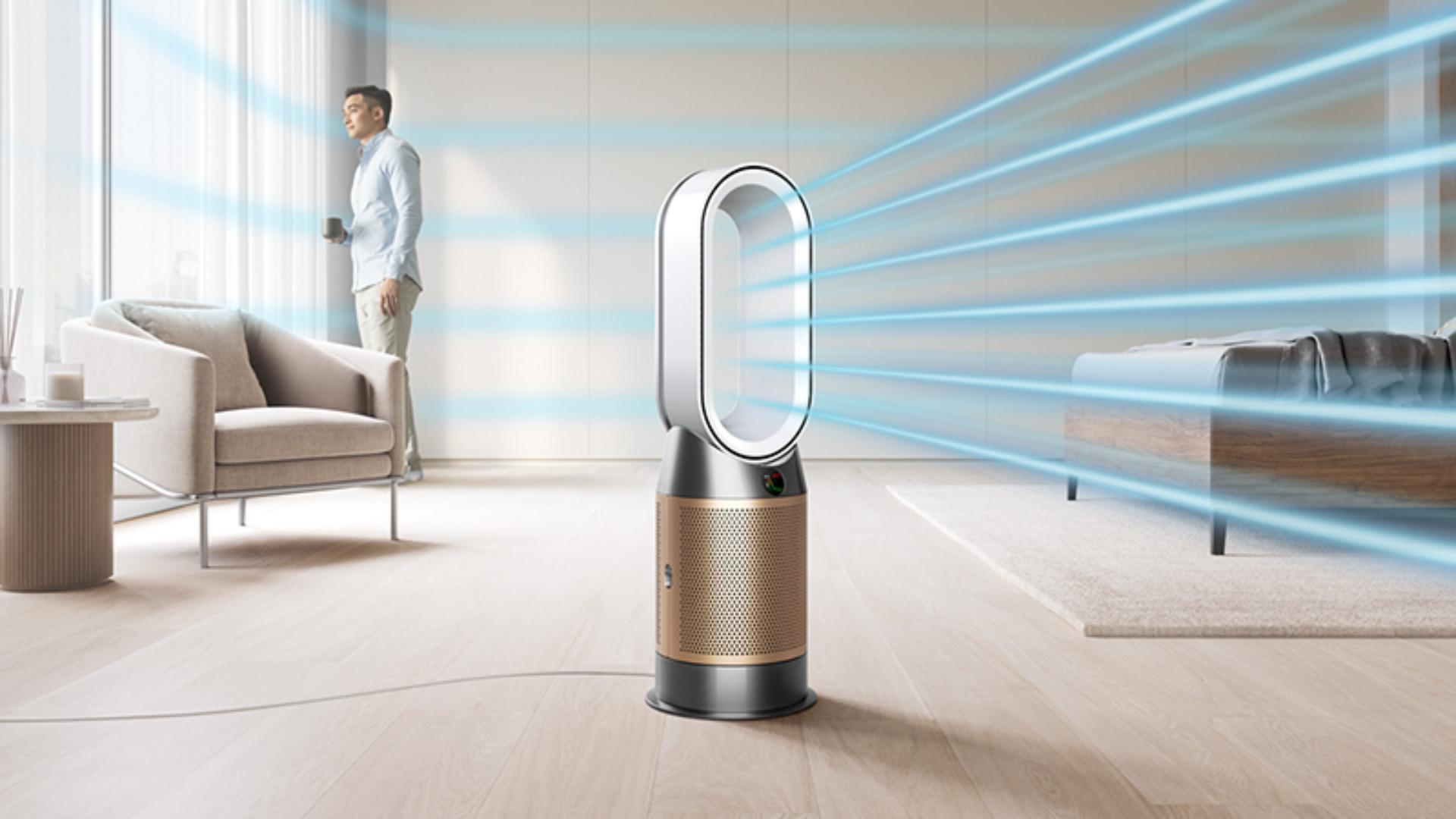 Dyson purifier heater in a bedroom