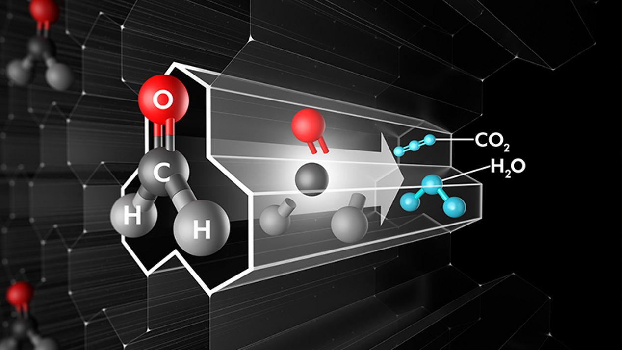Close up graphic of catalytic tunnel