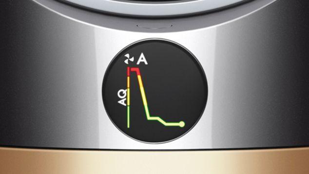 ЖК-экран очистителя Dyson с графиком, показывающим уровни загрязняющих веществ