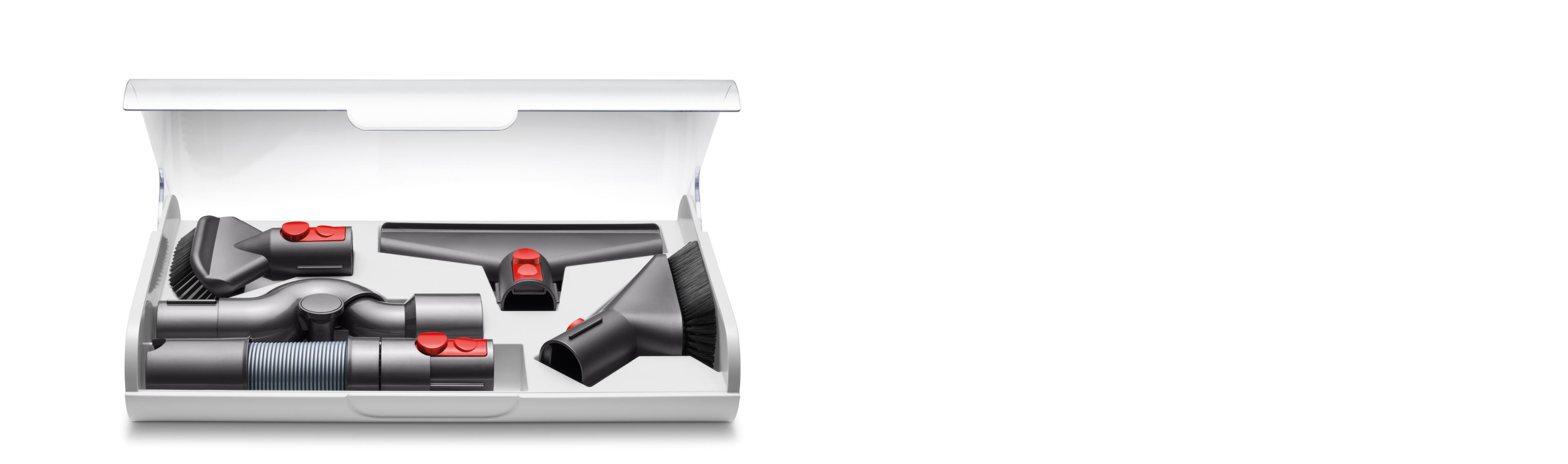 Dyson Cyclone V10™ vacuum tools in drawer