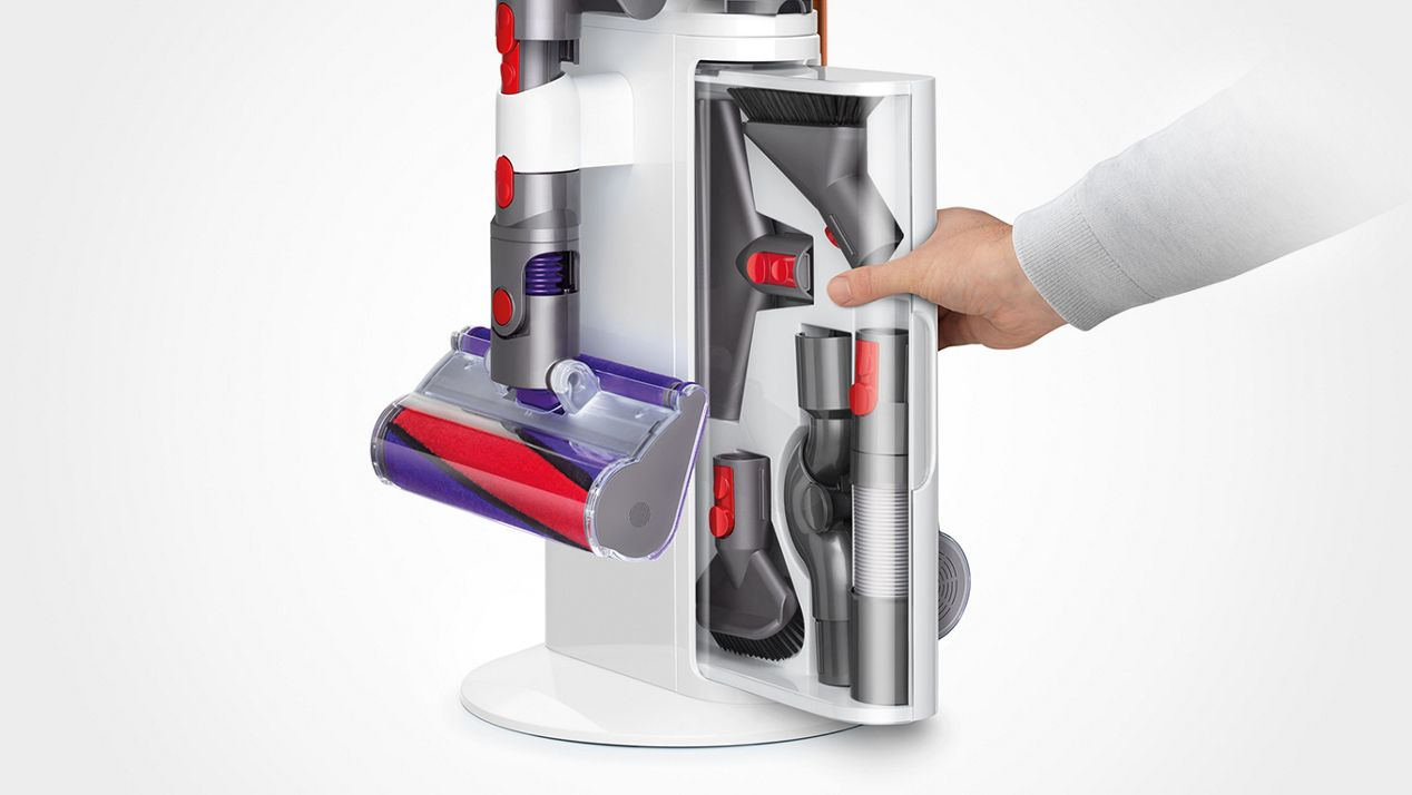 Tool drawer sliding into Dyson Cyclone V10 Dok™