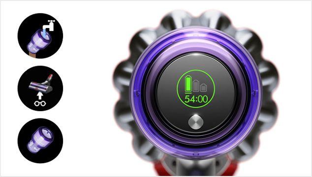Dyson V11 vacuum LCD screen showing countdown