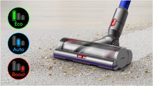 Cleaner head on carpet with image of screen showing three power modes