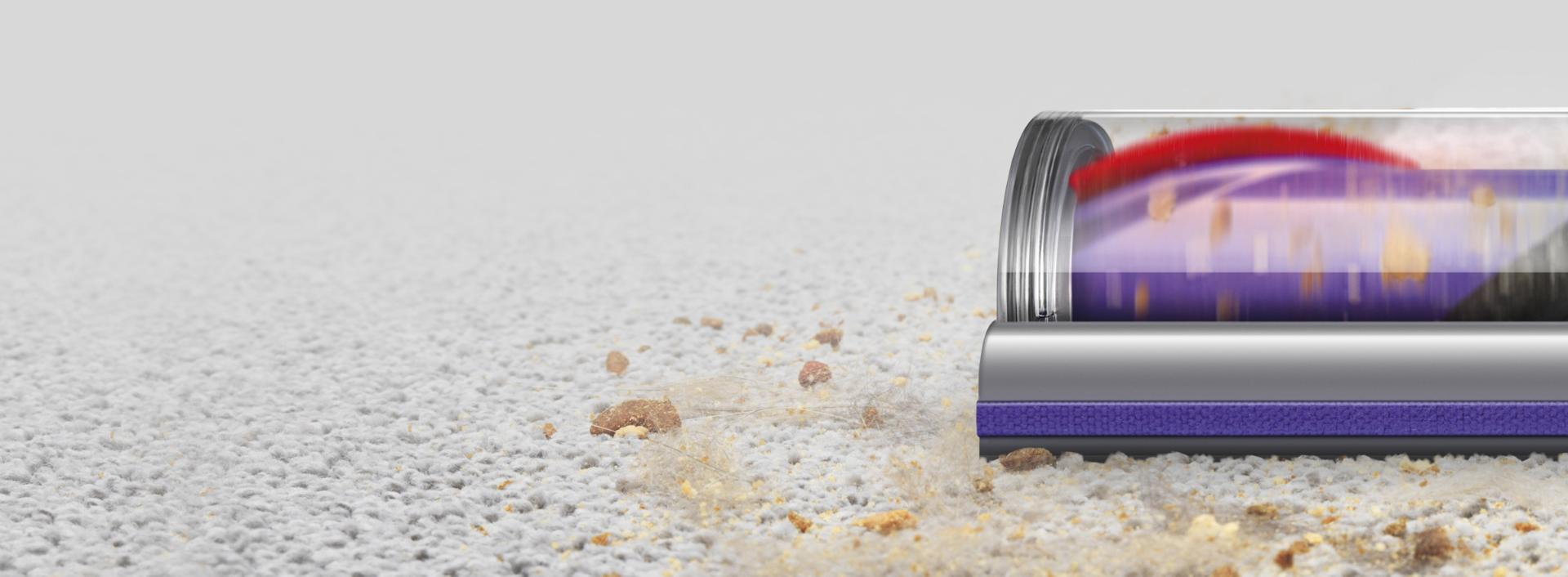 在地毯使用的真空特写镜头