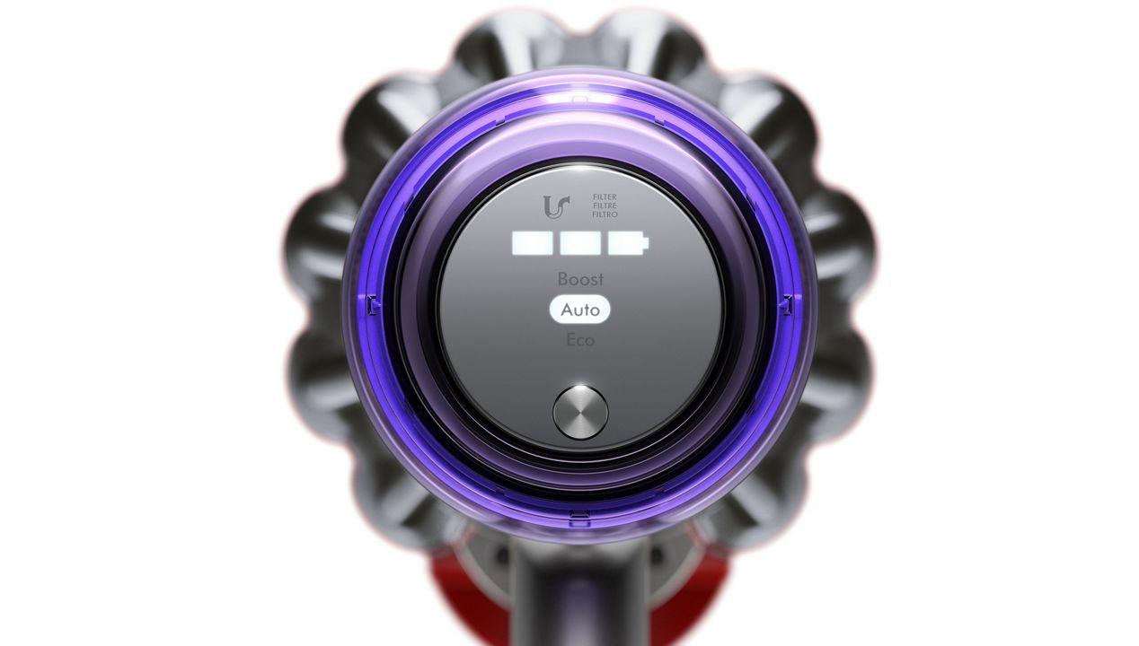 Dyson V11™ vacuum LED screen showing tick symbol