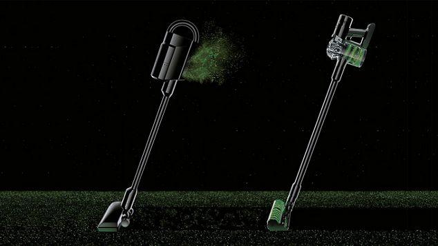 Croquis de deux aspirateurs DysonV8 expulsant de l'air filtré