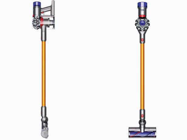Face avant et profil de deux aspirateurs V8Absolute