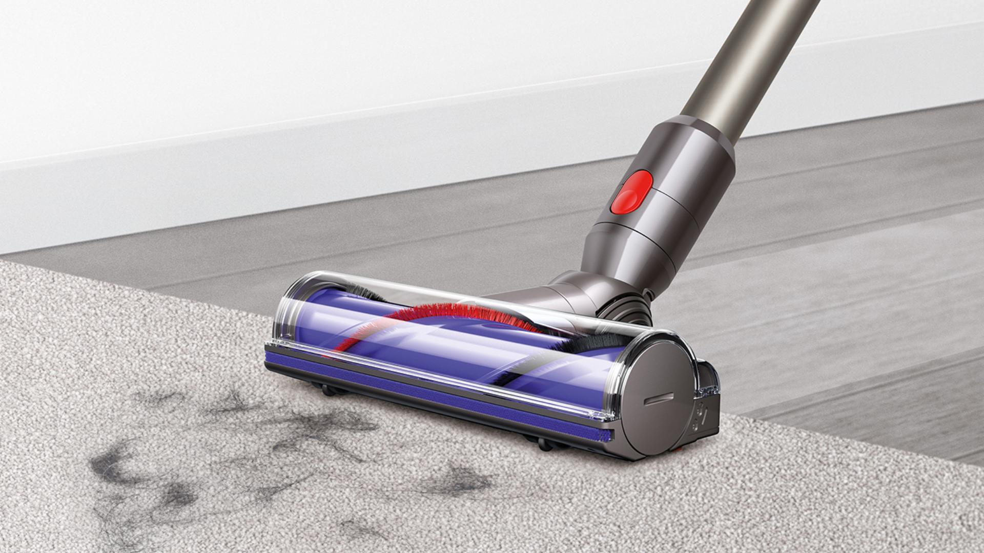 Close-up of the Dyson V8 cleaner head