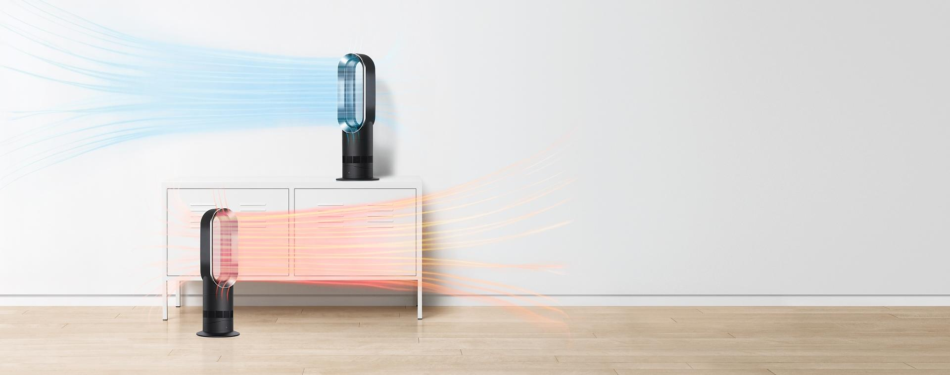 Dyson fan heaters on floor and table