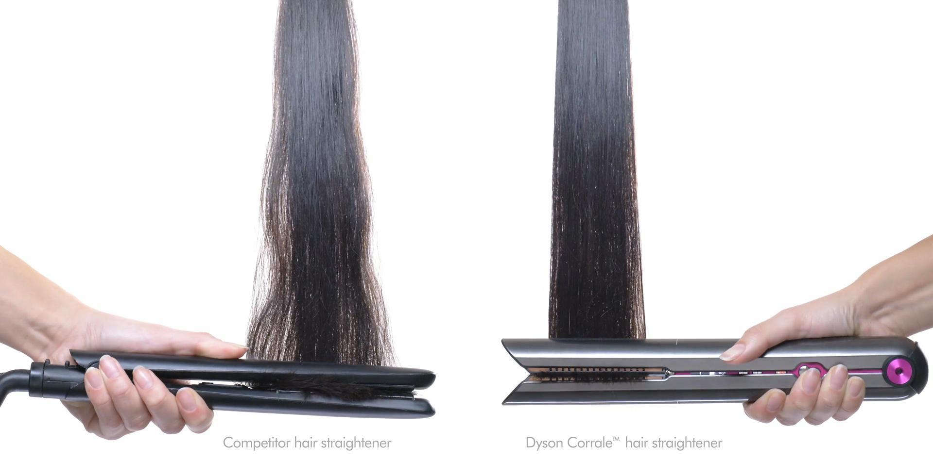 戴森Corrale直发器拉下一个美丽的发型的头发