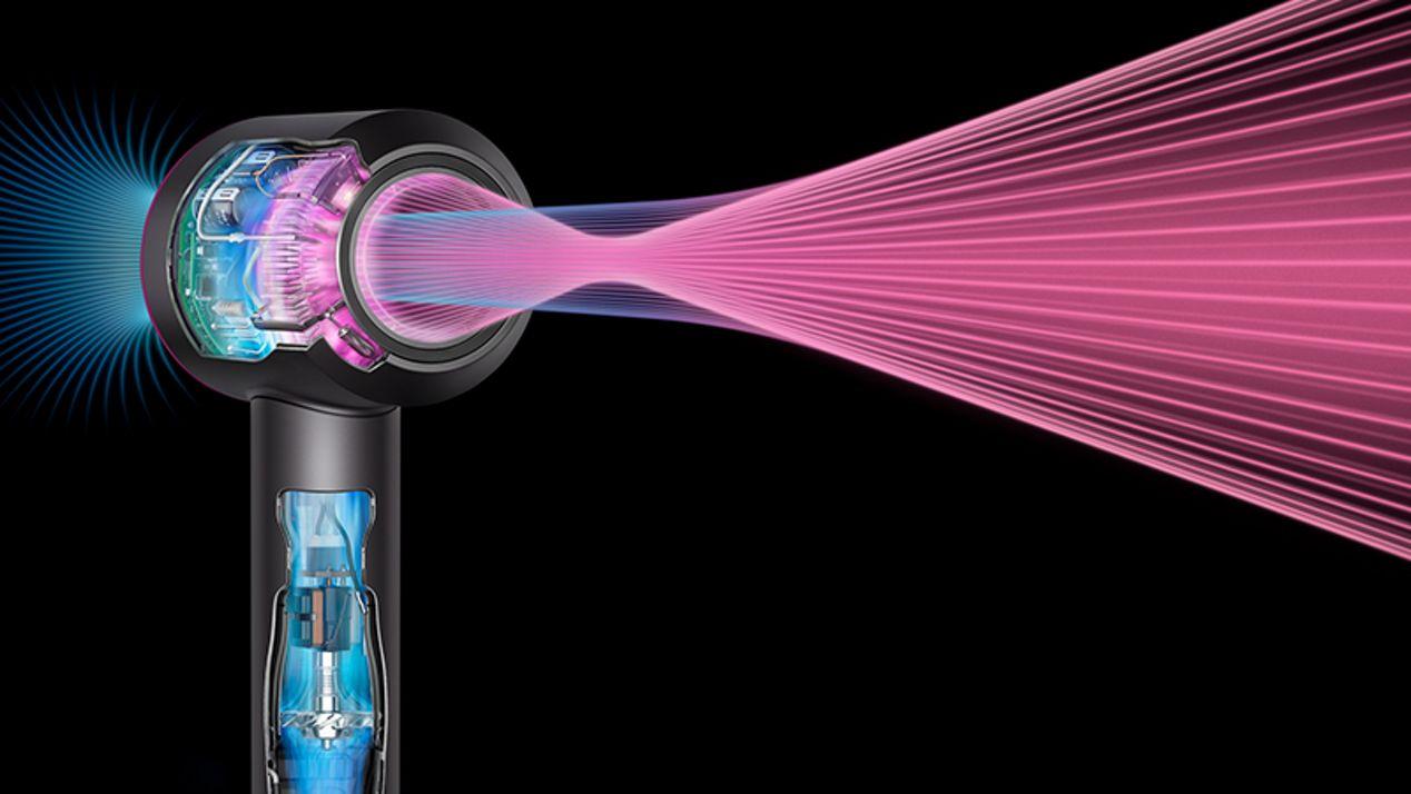 Cliché radiographique du sèche-cheveux Dyson Supersonic et d'un flux d'air
