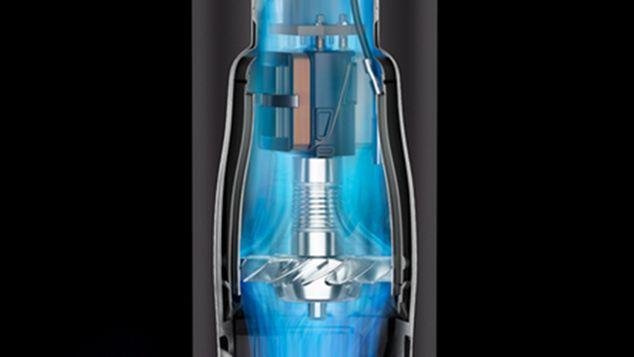 Illustration en coupe du moteur à l'intérieur du sèche-cheveux Dyson Supersonic