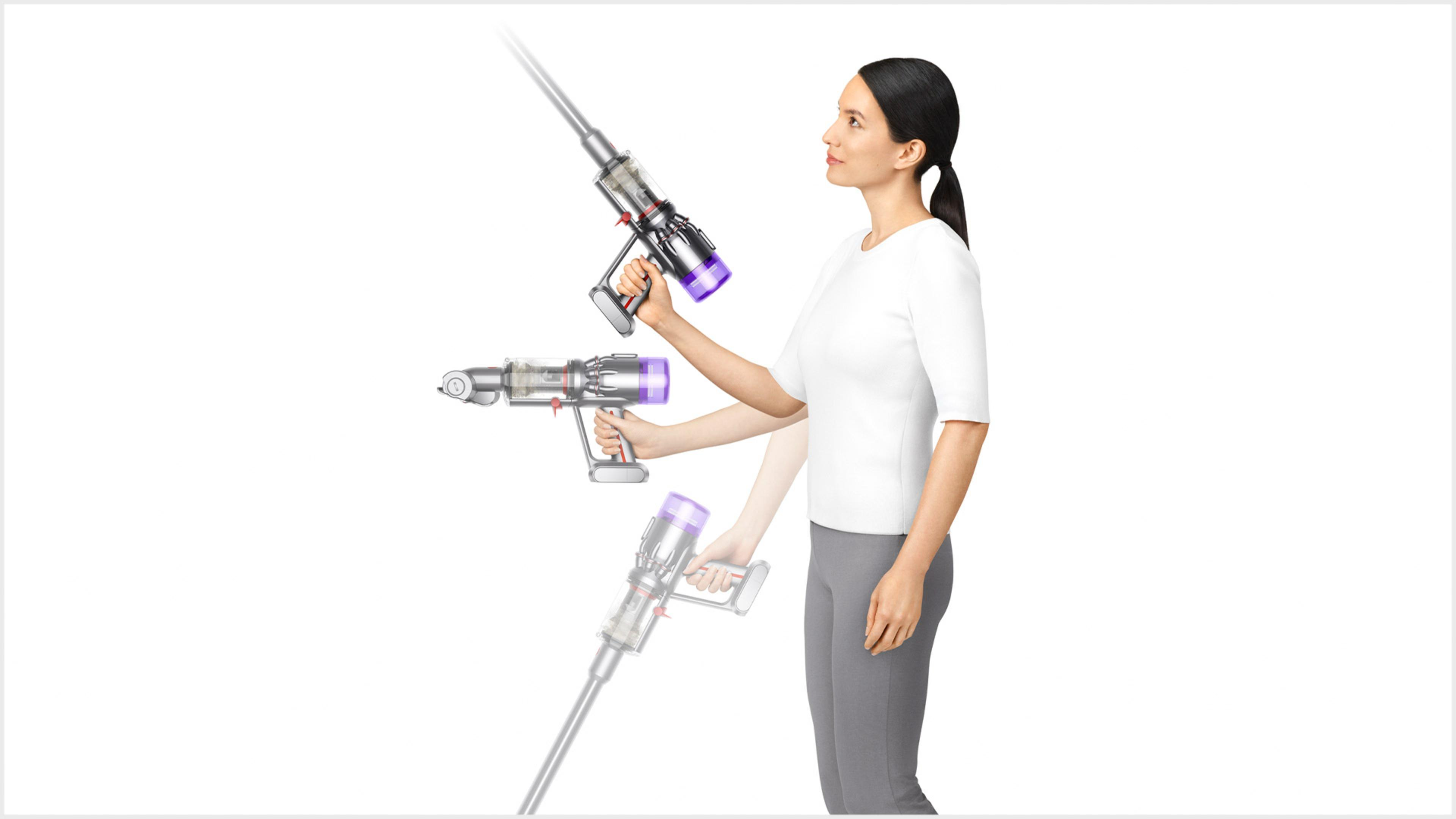 Woman using Dyson Micro 1.5kg vacuum up high and down low