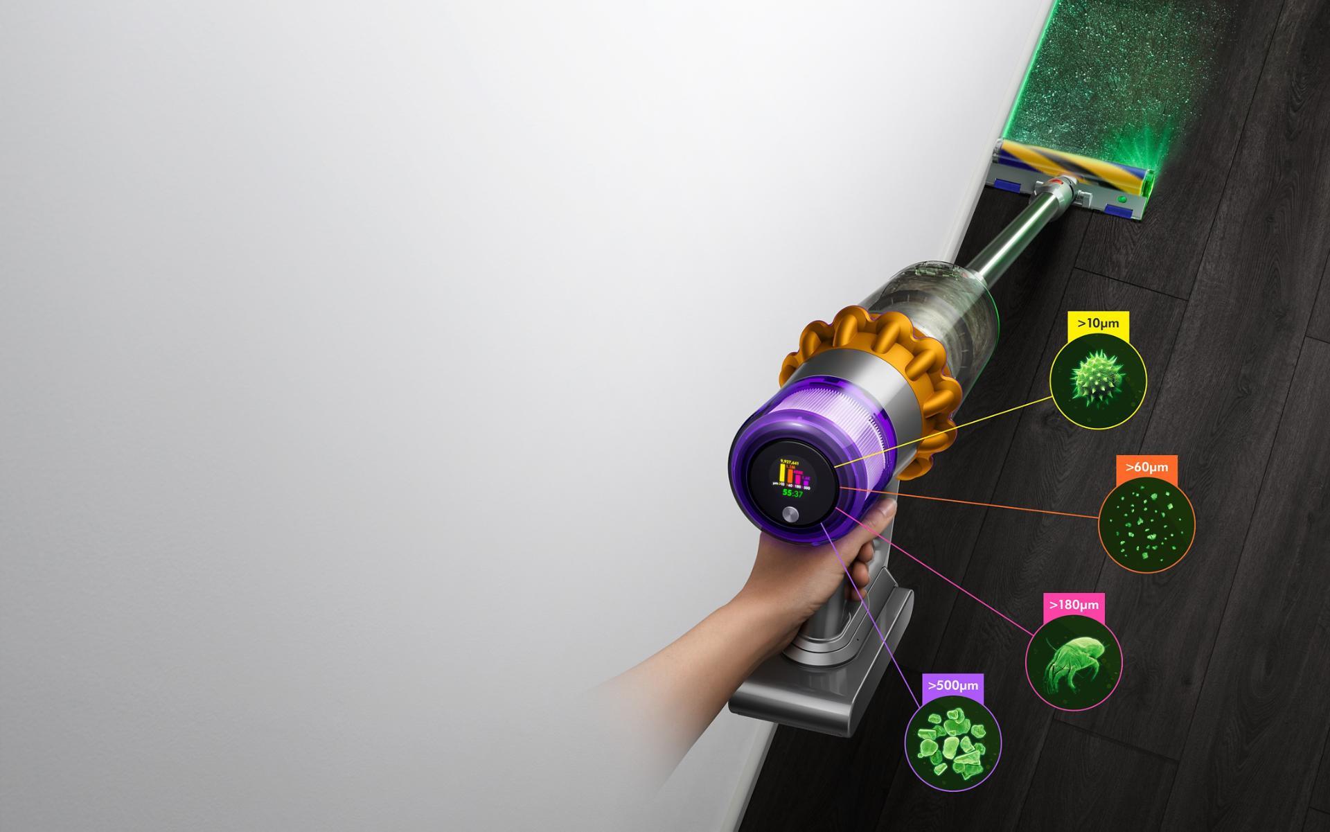 Odkurzacz bezprzewodowy Dyson V15 Detect z elektroszczotką Laser Slim Fluffy, wyświetlający ilość i rozmiary zebranego kurzu
