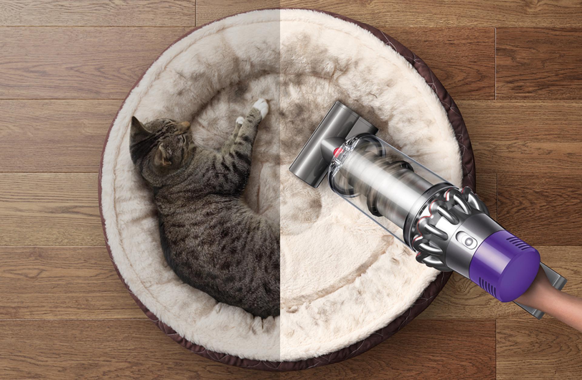 שואב אבק דייסון בשימוש ידני לוכד אלרגנים של חיות מחמד